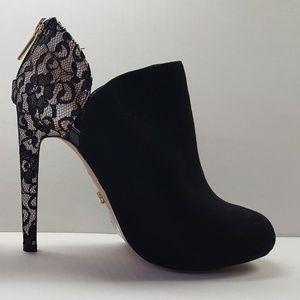 Victoria's Secret Black Suede Booties, Lace Heels